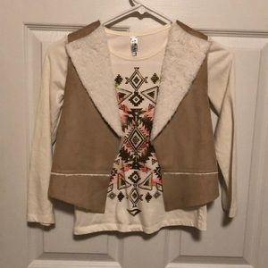 2 piece - long sleeve shirt and vest